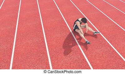 athlet, runway., besiegt