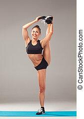 athlet, schwarz, muskulös, frauenansehen, split, junger