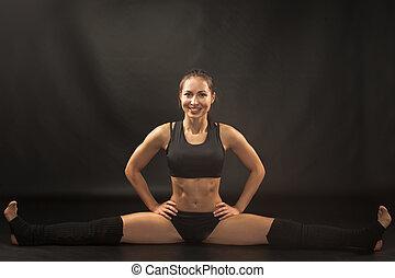 athlet, schwarz, muskulös, sitzen, frau, split, junger