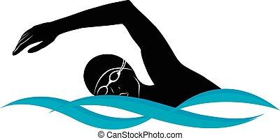 athlet, schwimmer