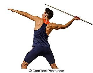 athlet, speerwerfen, mann, junger, weißes, athletik, ...