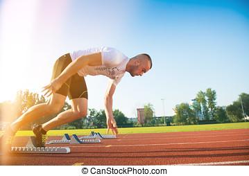 athlet, track., rennender , position, athletik, mann, beginnen