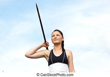 athlet, werfen, weibliche , speerwerfen