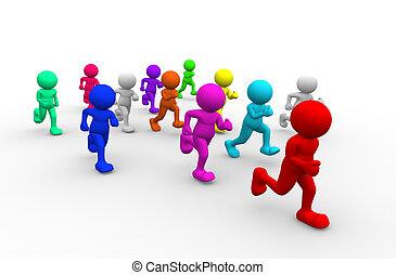 Athlete - 3d people - human character run - athletics. 3d...