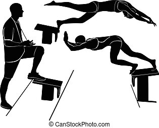 athlete., allenatore, swimmer., nuotatore, pratica, jump., uomo
