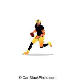 athlete., américain, vecteur, illustration., football