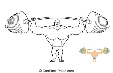 Athlete Barbell Coloring Book Bodybuilder Harvests Strong Man Keeps Sports Accessory Lesson In