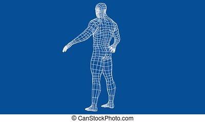 Athlete body. 3d illustration turntable video - Athlete...