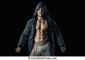 athlete brutal man - Athlete man bodybuilder strains all...