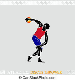 Athlete Discus thrower - Classic discus thrower pose in...