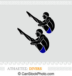 Athlete divers - Greek art stylized divers do synchronized...