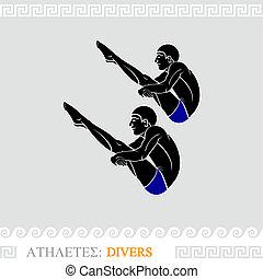 Athlete divers - Greek art stylized divers do synchronized ...