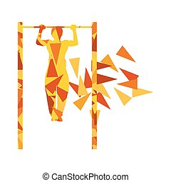 Athlete doing pull up man fitness and horizontal bar vector background abstract illustration made with polygon fragments isolated