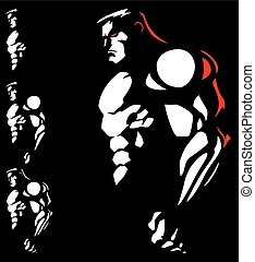 Athlete - Illustration of muscular athlete in 2 colors.