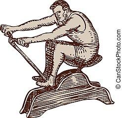 Athlete Exercising Vintage Rowing Machine Etching - Etching...