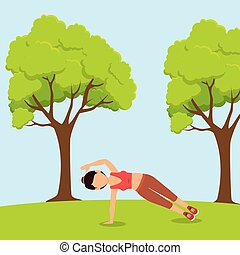 athlete female working out character vector illustration...