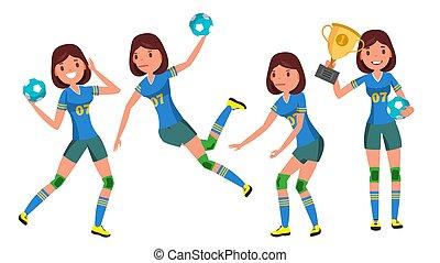 athlete., femme, plat, figure., jeune, illustration, jets, joueur, attaque, balle, vector., jump., handball, girl, dessin animé