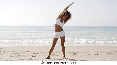 Athlete Girl Warm Up Outdoors On Beach - Fitness athlete...