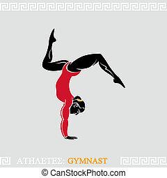Greek art stylized arm-balanced gymnast woman