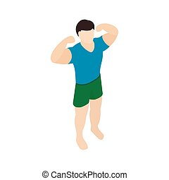 Athlete icon, isometric 3d style
