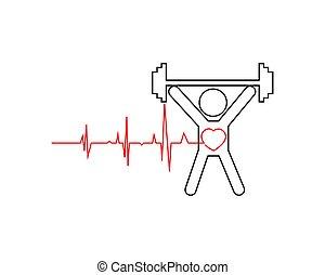 athlete., illustration., sain, cardiogramme, person., illustration, vecteur, pulsation
