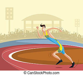 Athlete - cartoon style athlete running on track in vector