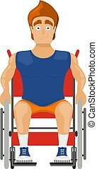 Athlete in a wheelchair on a white background. Cartoon illustration of a young guy Sportsman sitting in a wheelchair for disabled people. Vector illustration