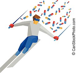 Athlete in blue and red running on ski, lot of pills flying behind