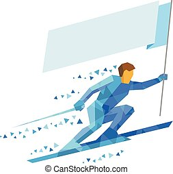 Athlete in blue skiing with empty flag
