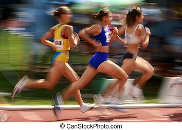 Three athlete running in competition, motion blur effect