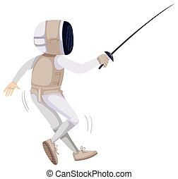 Athlete in fencing outfit with sword