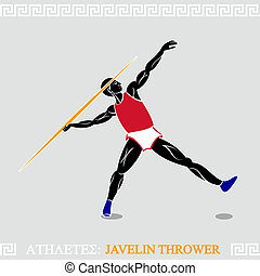 Athlete Javelin thrower - Greek art stylized javelin thrower...
