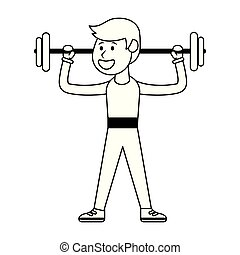 Athlete lifting weights in black and white