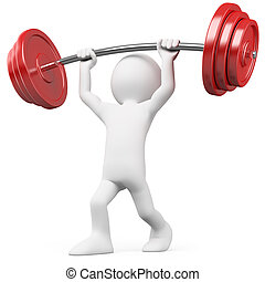 Athlete lifting weights. Rendered on a white background with...