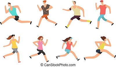 Athlete man and woman running. Energetic people runners in sportswear vector set