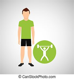 athlete man barbell weight sport graphic