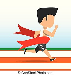 athlete man running in competition championship achieve a goal