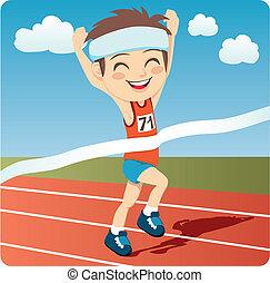 Athlete Man - Young athlete man winning Olympic games sprint...