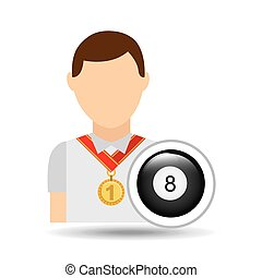 athlete medal pool ball icon graphic