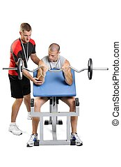 Athlete men exercising with personal fitness trainer on a white background