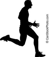 Athlete on running race, silhouettes.