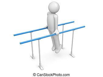 Athlete on the parallel bars - 3d isolated on white...