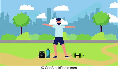 athlete on the park with healthy lifestyle