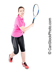 athlete player with racket for tennis on a white background playing