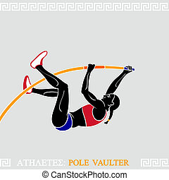 Athlete Pole Vaulter - Greek art stylized female pole...
