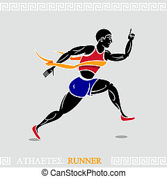Athlete Runner - Modern runner stylized according ancient...