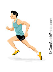 athlete running - illustration of athlete running on white...