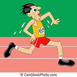 Athlete running on a racetrack looking quite strained.