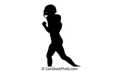 Athlete runs with the football form. Slow motion. Silhouette. White background