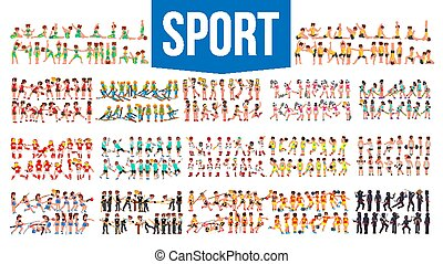 Athlete Set Vector. Man, Woman. Group Of Sports People In Uniform, Apparel. Character In Game Action. Flat Cartoon Illustration
